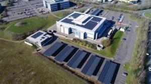 aviva car park solar farm arial view